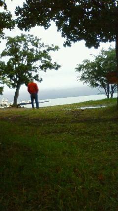 屈斜路湖、雨です。