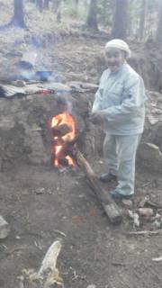 炭窯の寝床